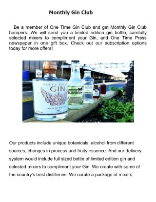 Monthly Gin Club