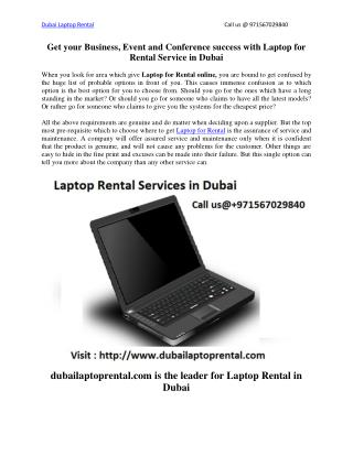 Get your Business, Event and Conference success with Laptop for Rental Service in Dubai