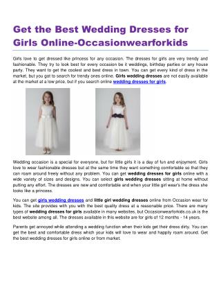 Get the Best Wedding Dresses for Girls Online-Occasionwearforkids