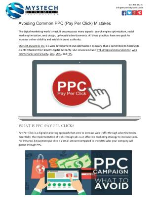 Avoiding Common PPC (Pay Per Click) Mistakes