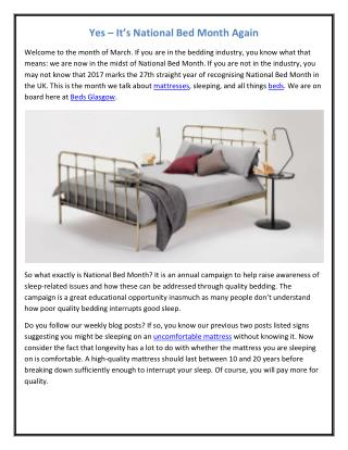 Yes – It's National Bed Month Again