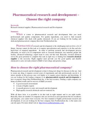 Pharmaceutical research and development – Choose the right company