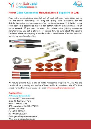 Power Cable Accessories Manufacturers & Suppliers In UAE