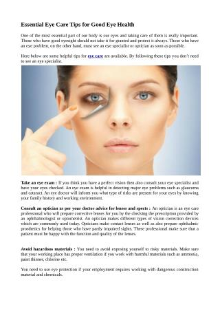 Essential Eye Care Tips for Good Eye Health
