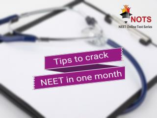 Tips to Crack NEET in One Month