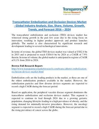 Transcatheter Embolization and Occlusion Devices Market - Positive long-term growth outlook 2024