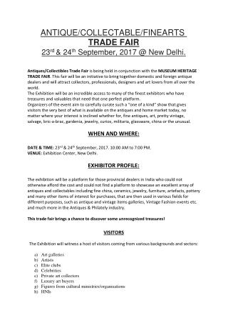 ANTIQUE/COLLECTABLE/FINEARTS  TRADE FAIR 23rd & 24th September, 2017 @ New Delhi.