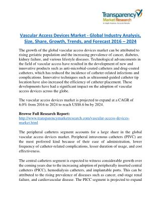 Vascular Access Devices Market will rise to US$ 8.6 Billion by 2024