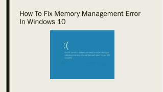 Fix: Memory Management Error In Windows 10