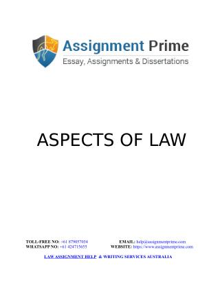 Aspects of Law: Law Assignment Writing Sample