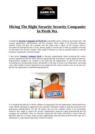 Hiring The Right Security Security Companies In Perth Wa