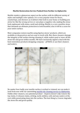 Marble Tile and Grout Restoration in Alpharetta