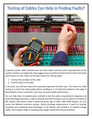 Testing of Cables Can Help in Finding Faults?