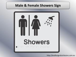 Male & Female Showers Sign - Braille Sign Distributors