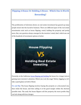 Which One is Beneficial? - House Flipping or Holding A House