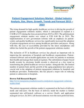 Patient Engagement Solutions Market - Positive long-term growth outlook 2023
