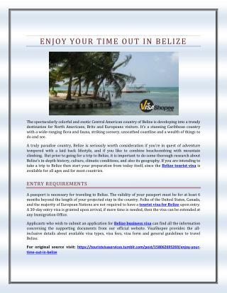 Enjoy Your Time Out in Belize