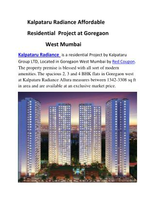 Kalpataru Radiance 2 BHK flats in Goregaon West by Red Coupon