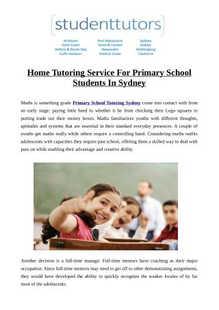 Home Tutoring Service For Primary School Students In Sydney