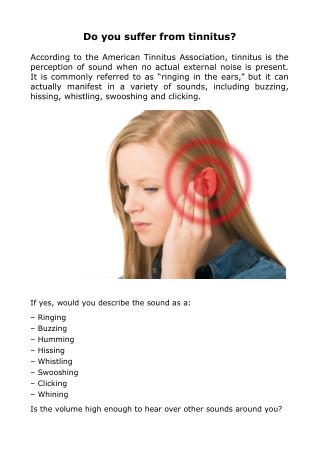 Do you suffer from tinnitus?