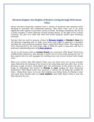 Revanta Heights- The Heights of Modern Living Through DDA Smart Cities