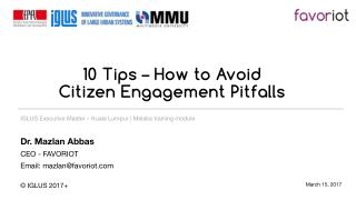 10 Tips - How To Avoid Citizen Engagement Pitfalls