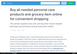 Buy all needed personal care products and grocery item online for convenient shopping