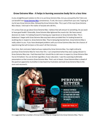 Grow Extreme Max - It delivers quick and long lasting results naturally