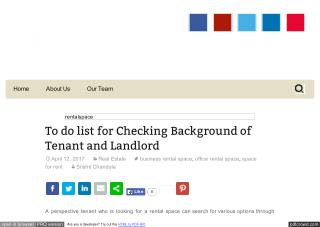 To do list for Checking Background of Tenant and Landlord