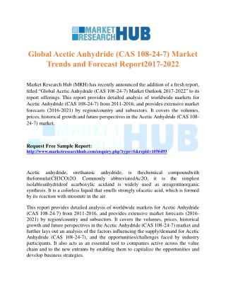 Global Acetic Anhydride Market Trends and Forecast Report 2017