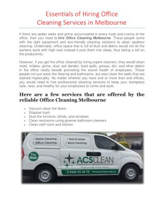 Essentials of Hiring Office Cleaning Services in Melbourne