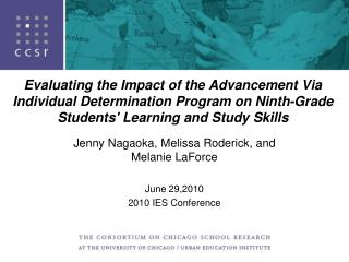 Evaluating the Impact of the Advancement Via Individual Determination Program on Ninth-Grade Students Learning and Study