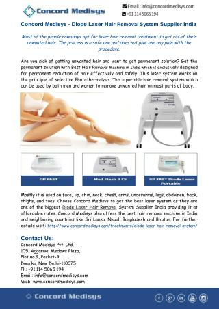 Concord Medisys- Diode Laser Hair Removal System Supplier India
