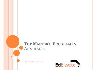 Top Master's Programs in Australia