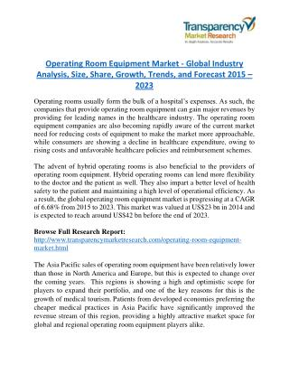 Operating Room Equipment Market Research Report Forecast to 2023