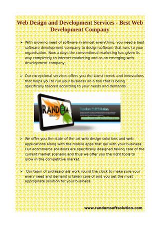 Web Design and Development Services - Best Web Development Company
