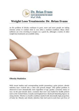 Weight Loss Treatments: Dr. Brian Evans