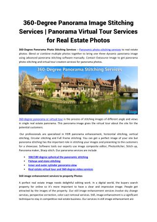 360-Degree Panorama Image Stitching Services | Panorama Virtual Tour Services for Real Estate Photos