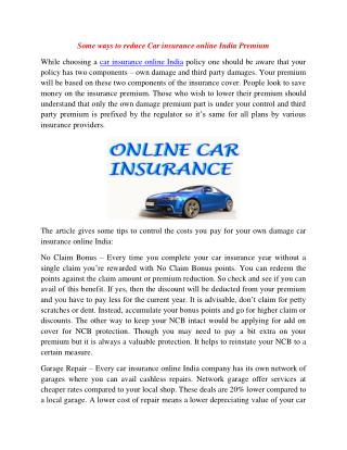 Some Ways to Reduce Car Insurance Online India Premium