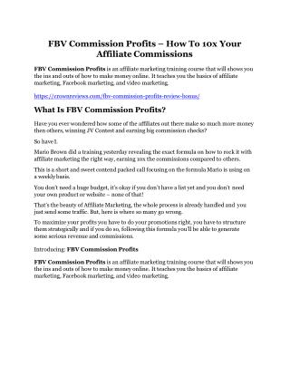 FBV Commission Profits Review -(GIANT) bonus & discount