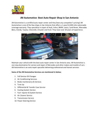 Certified Auto Repair and Service Center in San Antonio