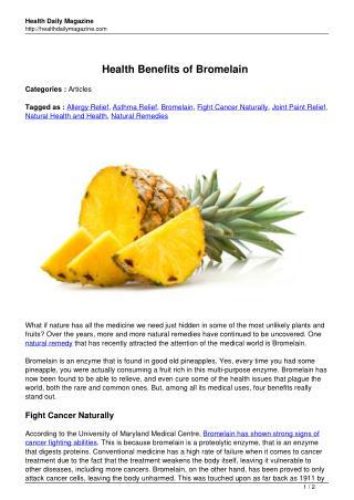 Health Benefits of Bromelain - HealthDailyMagazine.com
