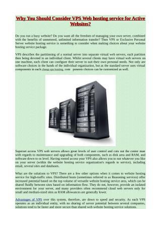 Why You Should Consider VPS Web hosting service for Active Websites?
