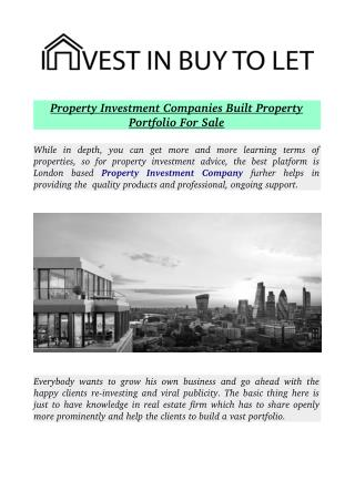 Property Investment Companies Built Property Portfolio For Sale