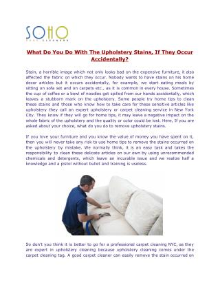 SoHo Rug Cleaning - Award Winning Carpet Cleaning NYC Company