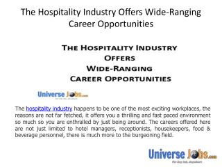 The Hospitality Industry Offers Wide-Ranging Career Opportunities