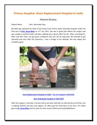 Primus Hospital -Knee Replacement Hospital
