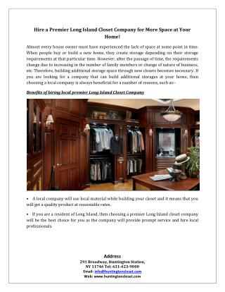Hire a Premier Long Island Closet Company for More Space at Your Home!