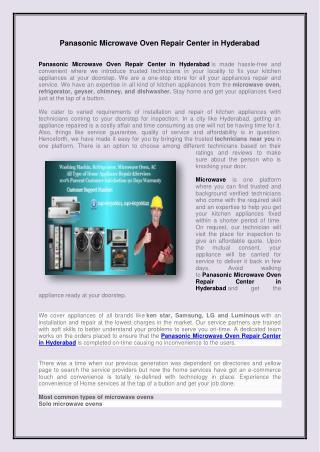 Panasonic Microwave Oven Repair Center in Hyderabad
