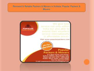 Renowed & Reliable Packers & Movers in Kolkata: Popular Packers & Movers